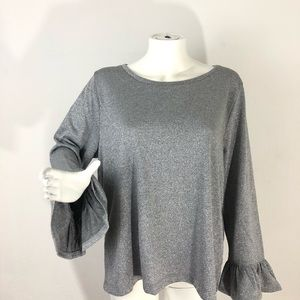 J.Crew Silver Sparkle Bell Sleeve Top XXL NWT